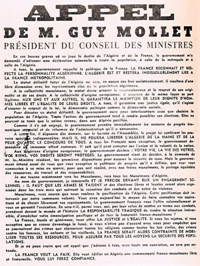 Appel de Guy Mollet aux Algériens
