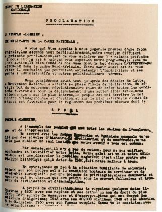 proclamation 1er nov 54