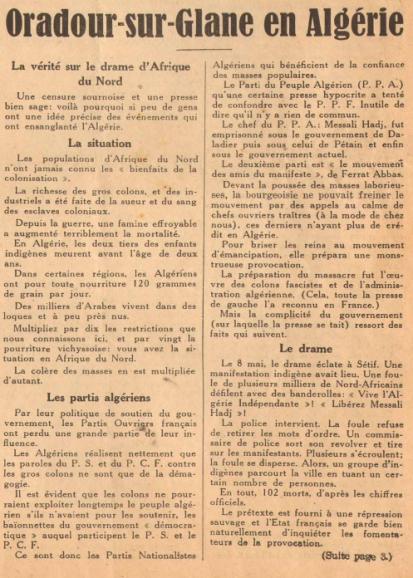 Oradour sur Glane en Algérie