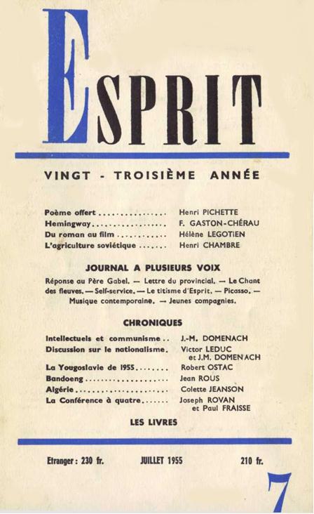 Revue Esprit juillet 1955